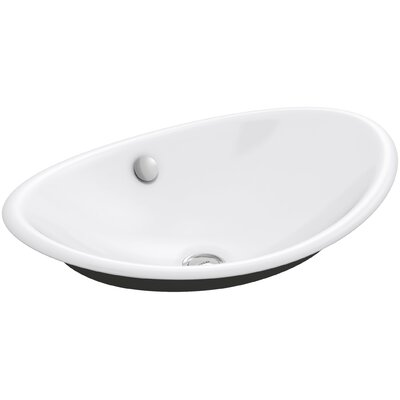 Iron Plains Plains? Metal Oval Vessel Bathroom Sink with Overflow Finish: White