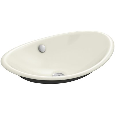 Iron Plains Plains? Metal Oval Vessel Bathroom Sink with Overflow Finish: Biscuit