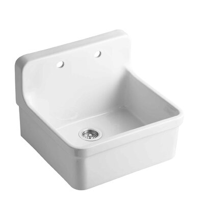 Gilford 24 x 22 x 9-1/2 Wall-Mount/Top-Mount Single-Bowl Kitchen Sink Finish: White
