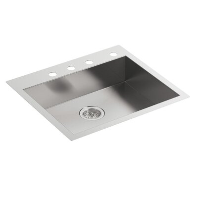 Vault 25 x 22 x 6-5/16 Single Bowl Dual-Mount Kitchen Sink with 4 Faucet Holes