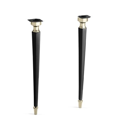 Kathryn Octagonal Fireclay/French Gold Tapered Brass Table Legs Finish: Black Black