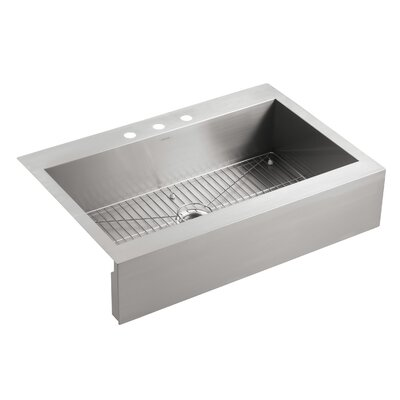 Vault 35-3/4 x 24-5/16 x 9-5/16 Top-Mount Single-Bowl Stainless Steel Kitchen Sink with Shortened Apron-Front for 36Cabinet