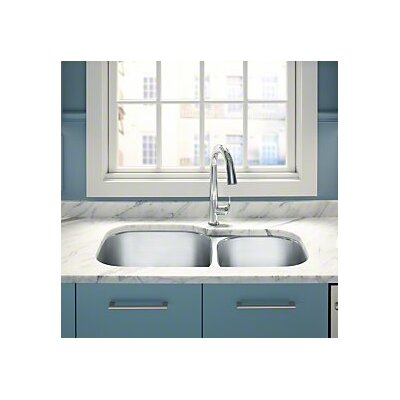 Undertone Preserve 35-1/8 x 20-1/8 x 9-5/8 Under-Mount Extra Large/Medium Double-Bowl Kitchen Sink