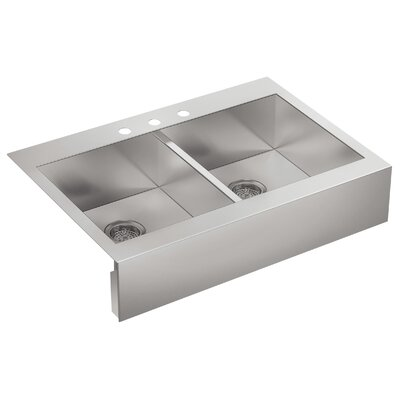 Vault 35-3/4 x 24-5/16 x 9-5/16 Top-Mount Double-Equal Stainless Steel Kitchen Sink with Shortened Apron-Front for 36Cabinet