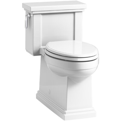 Tresham Comfort Height Skirted One-Piece Compact Elongated 1.28 GPF Toilet with Aquapiston Flush Technology and Left-Hand Trip Lever Finish: White