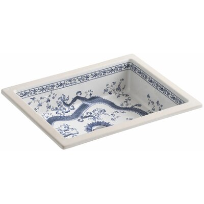 Imperial Blue design on Kathryn Ceramic Rectangular Undermount Bathroom Sink