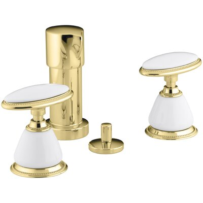 Antique Vertical Spray Bidet Faucet with Oval Handles, Requires Ceramic Handle Insets and Skirts Finish: Vibrant Polished Brass