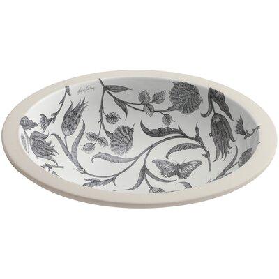 Botanical Study Ceramic Circular Undermount Bathroom Sink
