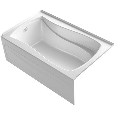 Mariposa 60 x 36 Alcove BubbleMassage Air Bath with Integral Apron Finish: White, Drain Location: Right