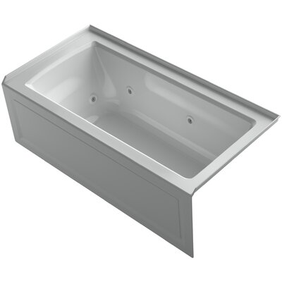 Archer 60 x 30 Exocrylic Three-Side Integral Flange Whirlpool Finish: Ice Grey, Drain Location: Right