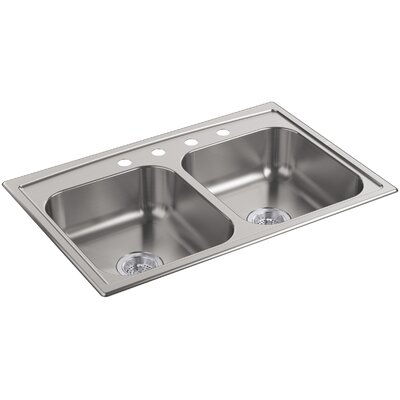 Toccata 33 x 22 x 6 Top-Mount Double-Equal Bowl Kitchen Sink