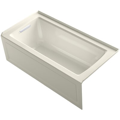 Archer Alcove Bath with Bask Heated Surface, Integral Apron, Tile Flange and Left-Hand Drain Finish: Biscuit
