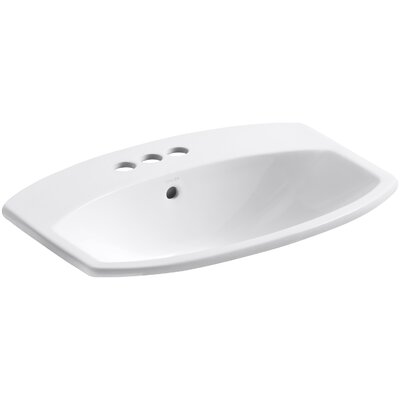 Cimarron Self Rimming Bathroom Sink 4 Finish: White, Faucet Hole Style: Single