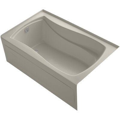 Mariposa Alcove Vibracoustic 60 x 36 Soaking Bathtub Finish: Sandbar, Drain Location: Left