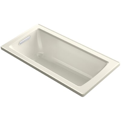 Archer Drop-In Bath with Bask� Heated Surface and Reversible Drain Finish: Biscuit