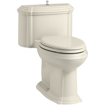 Portrait Comfort Height One-Piece Compact Elongated 1.28 GPF Toilet with Aquapiston Flush Technology, Lift Knob Actuator and Glenbury Quiet-Close Seat with Quick Release Functionality Finish: Almond