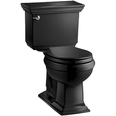 Memoirs Stately Comfort Height Two-Piece Round-Front 1.28 GPF Toilet with Aquapiston Flush Technology, Left-Hand Trip Lever and Insuliner Tank Liner Finish: Black Black
