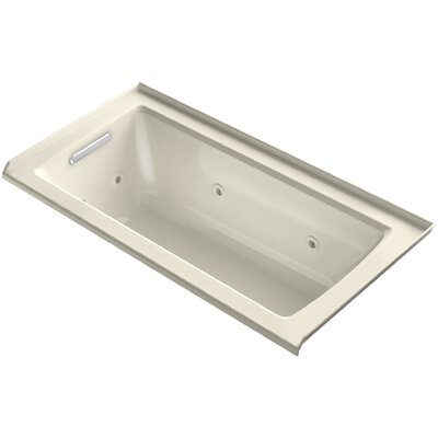 Archer 60 x 30 Alcove Whirlpool with Integral Flange Finish: White, Drain Location: Right