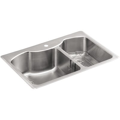 Octave 33 x 22 x 9-5/16 Top-Mount Large/Medium Double-Bowl Stainless Steel Kitchen Sink with Single Faucet Hole