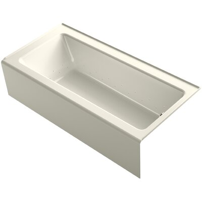 Bellwether 66 x 32 Alcove BubbleMassage Air Bathtub with Right-Hand Drain and Heater Finish: Biscuit