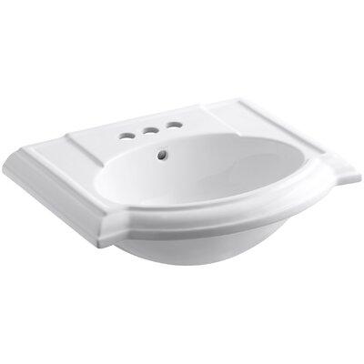 Devonshire� Ceramic 24 Pedestal Bathroom Sink with Overflow Finish: White