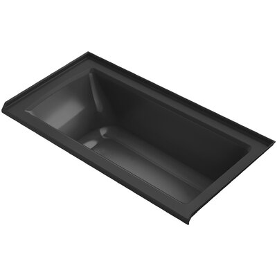 Archer Alcove Bath with Bask� Heated Surface, Tile Flange and Right-Hand Drain Finish: Black Black