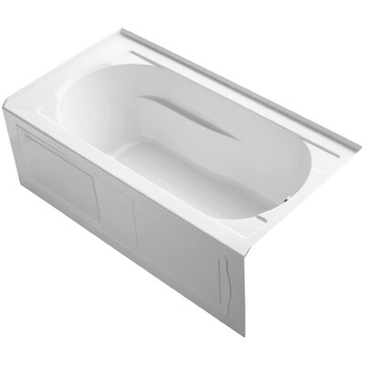 Devonshire Alcove BubbleMassage Air Bath with Integral Apron, Tile Flange, Right-Hand Drain and Heater Finish: White