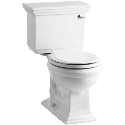 Memoirs Stately Stately Comfort Height Two-Piece Round-Front 1.28 GPF Toilet with Aquapiston Flush Technology and Right-Hand Trip Lever Finish: White