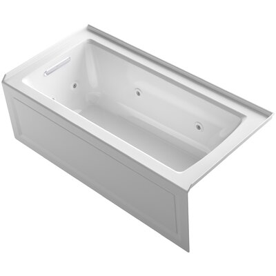 Archer 60 x 30 Exocrylic Three-Side Integral Flange Whirlpool Finish: White, Drain Location: Left