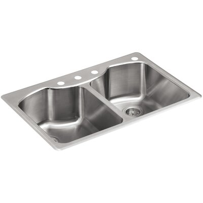 Octave 33 x 22 Top-Mount Double-Equal Kitchen Sink with Four-Faucet Holes