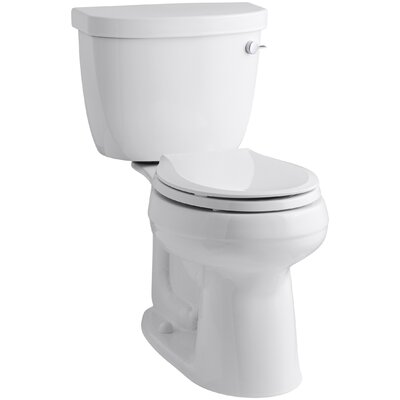 Cimarron Comfort Height Two-Piece Round-Front 1.28 GPF Toilet with Aquapiston Flush Technology, Right-Hand Trip Lever and Insuliner Tank Liner Finish: White
