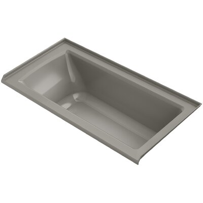 Archer Alcove Bath with Bask� Heated Surface, Tile Flange and Right-Hand Drain Finish: Cashmere