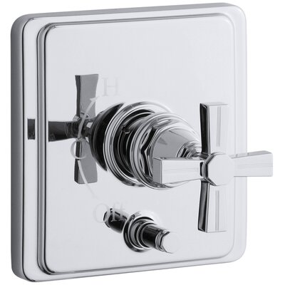 Pinstripe Rite-Temp Pressure-Balancing Shower Faucet with Diverter and Grooved Cross Handle Finish: Polished Chrome