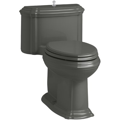 Portrait Comfort Height One-Piece Compact Elongated 1.28 GPF Toilet with Aquapiston Flush Technology, Lift Knob Actuator and Glenbury Quiet-Close Seat with Quick Release Functionality Finish: Thunder Grey