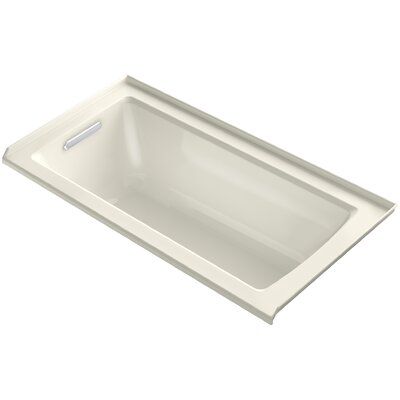 Archer Alcove Bath with Bask� Heated Surface, Tile Flange and Left-Hand Drain Finish: Biscuit