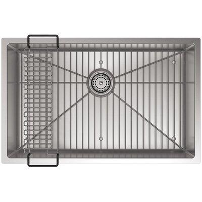 Strive 29 x 18-5/16 x 9-5/16 Under-Mount Medium Single Bowl Kitchen Sink with Basin Rack