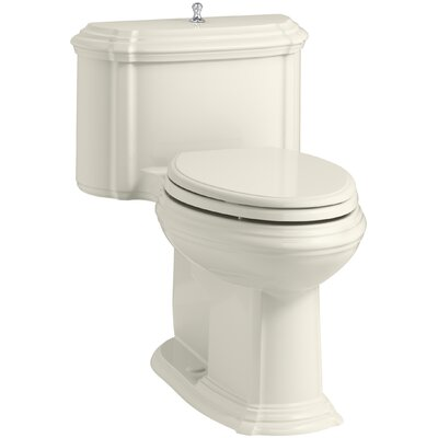 Portrait Comfort Height One-Piece Compact Elongated 1.28 GPF Toilet with Aquapiston Flush Technology, Lift Knob Actuator and Glenbury Quiet-Close Seat with Quick Release Functionality Finish: Biscuit