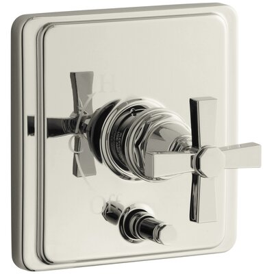 Pinstripe Rite-Temp Pressure-Balancing Shower Faucet with Diverter and Plain Cross Handle Finish: Vibrant Polished Nickel