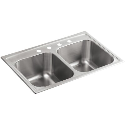 Toccata 33 x 22 x 9-1/4 Top-Mount Double-Equal Kitchen Sink