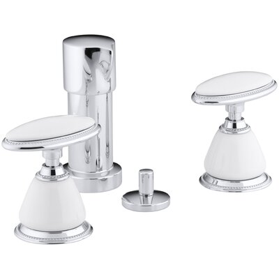 Antique Vertical Spray Bidet Faucet with Oval Handles, Requires Ceramic Handle Insets and Skirts Finish: Polished Chrome