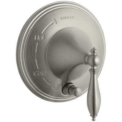 Finial Traditional Pressure-Balancing Valve Trim with Lever Handle and Polished Finish Accents, Valve Not Included Finish: Vibrant Brushed Nickel