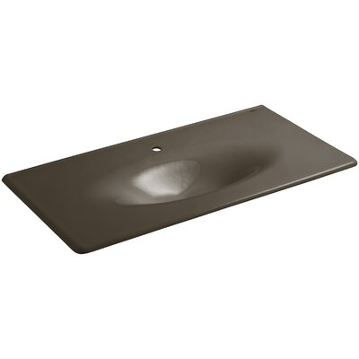 Iron Impressions 44 Single Bathroom Vanity Top Finish: Suede, Faucet Hole Style: Single