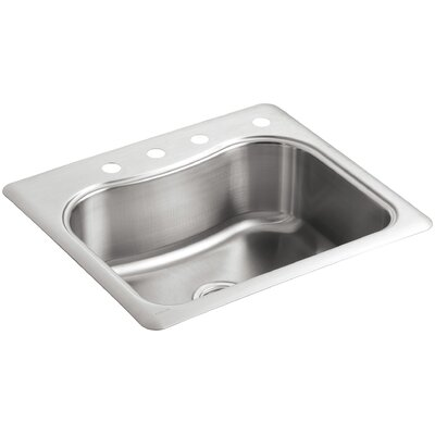 Staccato 25 x 22 x 8-5/16 Top-Mount Single-Bowl Kitchen Sink with 4 Faucet Holes
