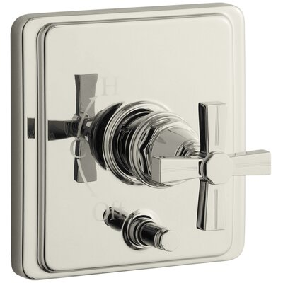 Pinstripe Rite-Temp Pressure-Balancing Shower Faucet with Diverter and Grooved Cross Handle Finish: Vibrant Polished Nickel