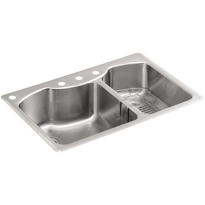 Octave 33 x 22 x 9-5/16 Top-Mount Large/Medium Double-Bowl Stainless Steel Kitchen Sink with Four-Faucet Holes