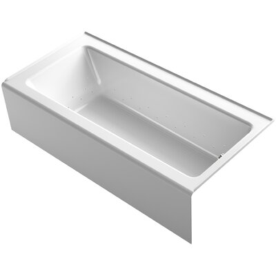 Bellwether 66 x 32 Alcove BubbleMassage Air Bathtub with Right-Hand Drain and Heater Finish: White