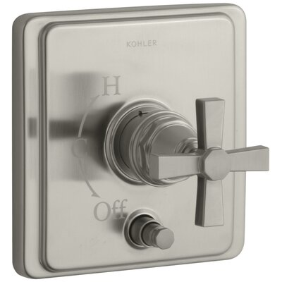 Pinstripe Rite-Temp Pressure-Balancing Shower Faucet with Diverter and Plain Cross Handle Finish: Vibrant Brushed Nickel