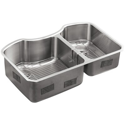 Octave 32 x 20-1/4 x 9-5/16 Under-Mount Large/Medium Double-Bowl Stainless Steel Kitchen Sink