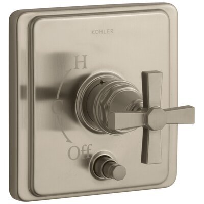 Pinstripe Rite-Temp Pressure-Balancing Shower Faucet with Diverter and Plain Cross Handle Finish: Vibrant Brushed Bronze