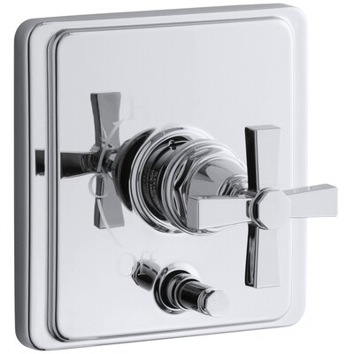 Pinstripe Rite-Temp Pressure-Balancing Shower Faucet with Diverter and Plain Cross Handle Finish: Polished Chrome